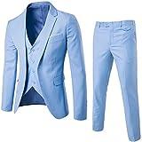 MAGE MALE Men's 3 Pieces Suit Elegant Solid One Button Slim Fit Single