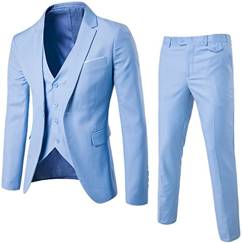 MAGE MALE Men's 3 Pieces Suit Elegant Solid One Button Slim Fit Single Breasted Party Blazer Vest Pants Set, Light Blue, Large