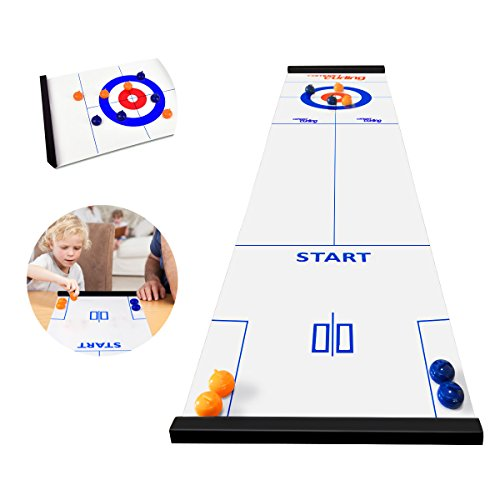 Review Of BicycleStore Table Top Curling Game for Family, Adults and Kids Team Board Game Training f...