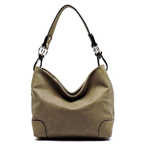 Elphis Fashion Classic Shoulder Bag Hobo Bucket Handbag Purse (79-Stone) - Zip Top Hobo Handbag