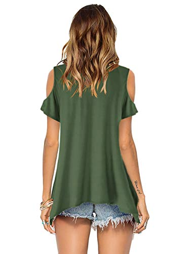 Beluring Oberteil Damen T Shirt Kurzarm V Ausschnitte T-Shirt Off Shoulder Tops Bluse,S-2XL