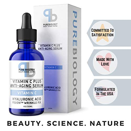 "Pure Biology ""C+"" Vitamin C Serum (30%) with Hyaluronic Acid, Witch Hazel, Vitamin E & Breakthrough Anti Aging, Anti Wrinkle Complex – Lighten Dark Spots, Acne Scars – Men & Women"
