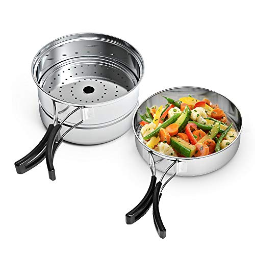 Chihee Outdoor Camping Cooking Set Stainless Steel Pot Frying Pan Steaming Plate Portable Cookware Pots Picnic BBQ Travel Backpacking Hiking Survival 3 Pieces