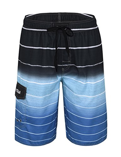 Nonwe Men's Beachwear Quick Dry Striped Beach Shorts Blue - Swim Shorts Striped