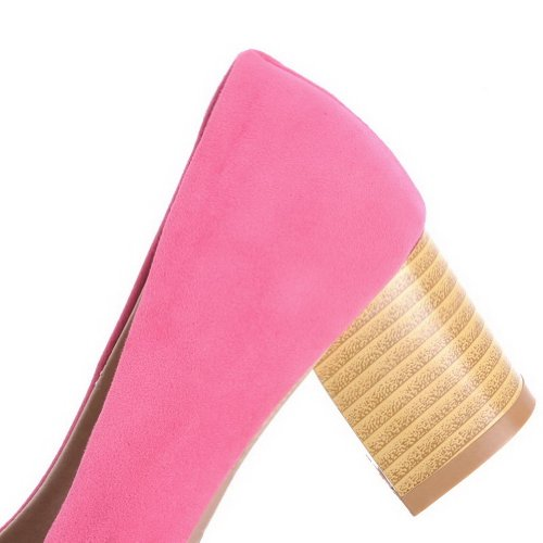 Chunky Pompe Bowknot Solide Voguezone009 Rosa Closed Womens Smerigliato Toe Con 11Sg4