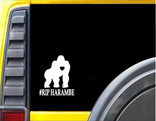 Amazon com gorilla harambe rip f455 6x6 inch decal sticker automotive