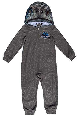 AME Jurassic World Blue Raptor Boys Hooded Union Suit Pajama,Gray,Small / 6-7 -