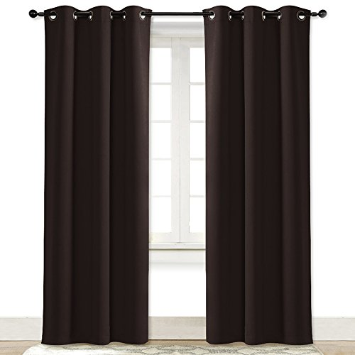 NICETOWN Blackout Curtain Room Darkening Panel Energy Smart Light Blocking Solid Grommet Blackout Curtain/Drape for Patio (1 Piece, 42-Inch x 84-Inch, Toffee ()