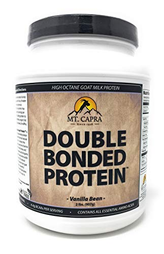 Double Bonded Protein by Mt. Capra | Whole Goat Milk Protein With Natural Blend of Casein and Whey From Grass-fed Pastured Goats, Vanilla Bean Flavor - 2 Pounds