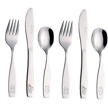 Amazon.com | Exzact Stainless Steel 6 pcs Children's Flatware Cutlery Set (Dog Cat Bunny x 6 PCS
