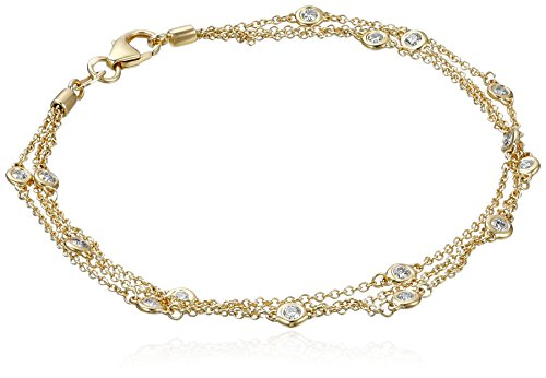 14k Yellow Gold Floating Diamond Strand Bracelet (1/2 cttw, K-L Color, I1-I2 Clarity), 7
