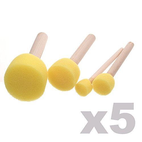 chic BCP 20-Pieces Assorted Size Round Sponges Brush Set, Paint Tools For Kids