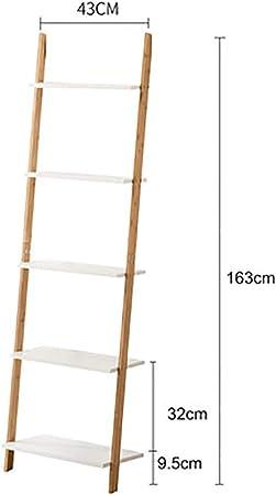 MShelf Blanco Escalera Estantería, Bambú Almacenamiento Estante Unidad Piso Pie Pared Soporte De La Flor Rack para Sala De Estar, Dormitorio-e 5 Nivel: Amazon.es: Hogar