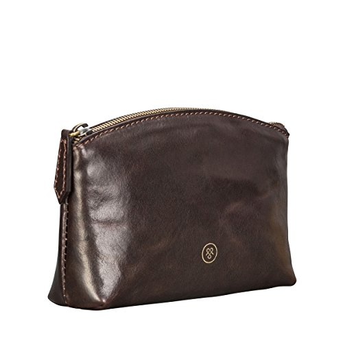 Maxwell Scott Luxury Handcrafted Italian Leather chocolate Brown Make Up Bag / Cosmetic Case (The Chia) Heart Italian Bag
