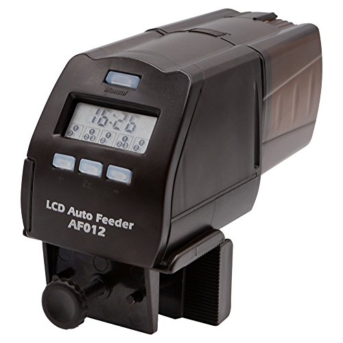 AQQEF Automatic Fish Feeder, AF012 Turtle Feeder Digital Fish Food Timer Programmable Food Dispenser for Fish with LCD Display for Weekend, Holiday(150ml) (Fish Food Feeder Timer)