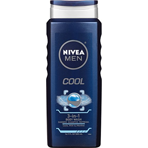 (NIVEA Men Cool 3-in-1 Body Wash - Shower, Shampoo, and Refresh With Cooling Icy Menthol - 16.9 fl. oz. Bottle (Pack of)