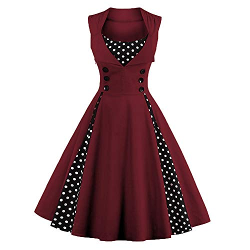 FTVOGUE Women Retro Dress Sleeveless Rockabilly Polka Dot Printed Pleated Swing Cocktail Vintage Dress, Burgundy
