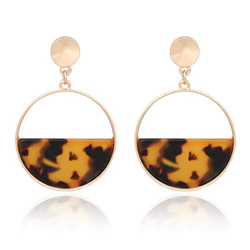 vogueknock Acrylic Dangle Earrings Gold Textured Square Tortoise Marble Resin Drop Earrings for Women (Tortoise Round)