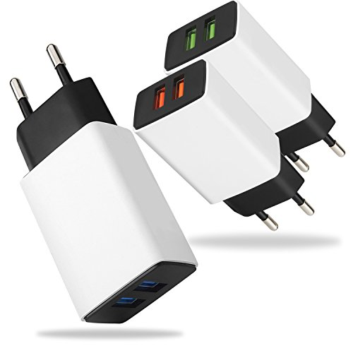 Europe Phone (Europe USB Adapter, X-EDITION 2A/10W Protable EU Travel Wall Charger Power Adapter Dual Port USB Plug for iPhone 7 Plus/ 6 Plus/ 6S / 5S, Samsung Galaxy S8/S7/S6/S5, LG, Moto, Android Phone (3-Pack ))