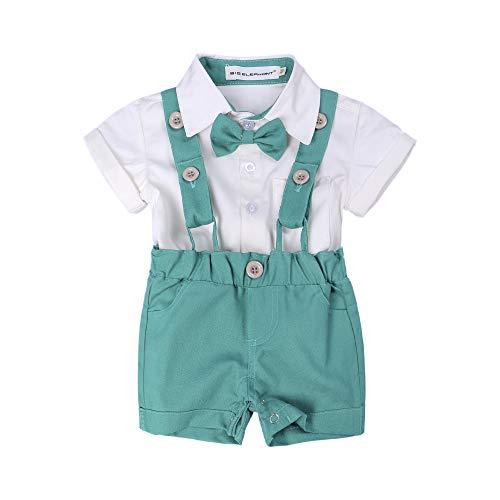 (BIG ELEPHANT Baby Boys'2 Piece T-Shirt Suspender Shorts Clothing Set NA42 Green)