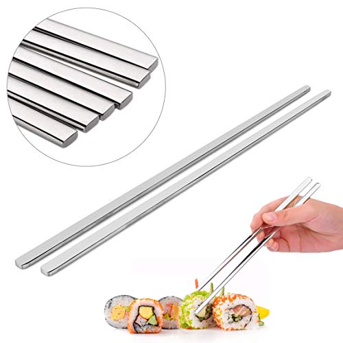 EQLEF 4 Pairs Stainless Chopstick Steel Flat chopsticks 23cm