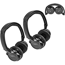 Pair of Two Channel Fold Flat Adjustable Child-Adult Sized Universal Rear Entertainment System Infrared Headphones Wireless IR DVD Player Head Phones for in Car TV Video Audio Listening