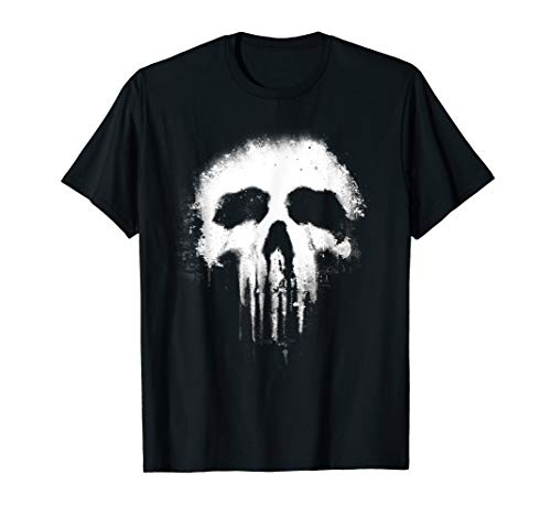 - Marvel The Punisher Scary Grungy Skull Logo Graphic T-Shirt