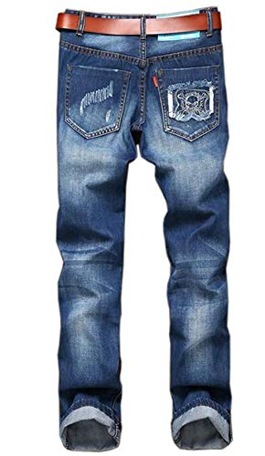 Brillante 0020 Flange Classico Pantaloni Da Il Denim Ricamo Per Uomo Blue Buco Jeans Distintivo Originali Casual Ragazzo Dritto Slim Patch Indossato Nuovo AaqwxgC