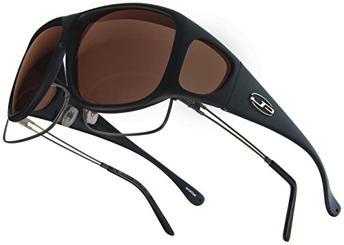 Fitovers Eyewear Aviator Sunglasses, Matte Black, Polarvue Amber