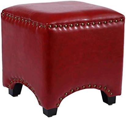 玄関ベンチ 靴Wearinのために靴のベンチPouffeスツールオスマンフットスツール布張りのフットレストスツールレザーオスマンのためにリビングルームや寝室 (Color : Red, Size : One Size)