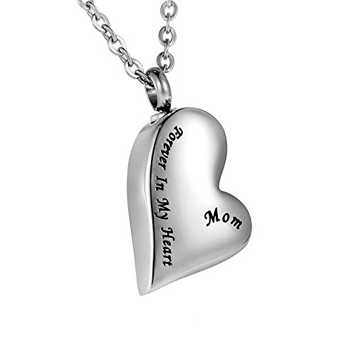 Cremation Urn Necklace Engraved MOM Forever In My Heart Stainless Steel Keepsake Waterproof Memorial Heart (Mom Heart Locket Necklace)