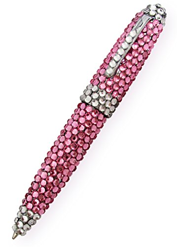 Bling Pen, Pink Glam Rock Rhinestone & Crystals, Every Girls Dream!! Single Pack, Twist To Retract, Black Ink, Smooth Writing. By Mega Stationers