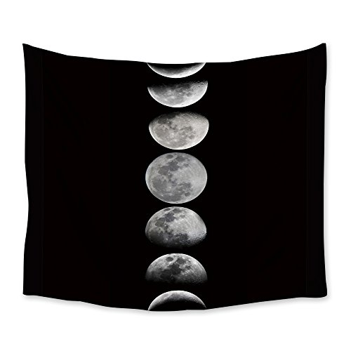 Chees D Zone Wall Hangings Tapestry Black Night Moon Light Weight Fabric Throw Tapestries for Home Living Room Bedroom Dorm Art Decor (Eclipse Living Room Sofa Table)