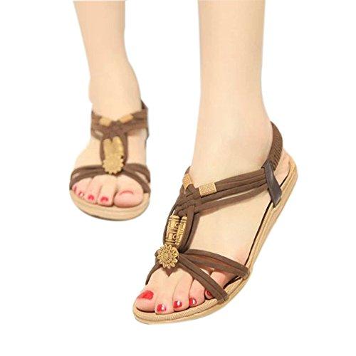 Perlen Sommer Frauen Mädchen ZAMME Sandale Up Open Lace Toe Braun Z0wCSwq