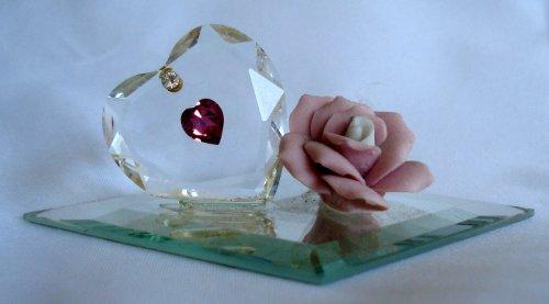 Swarovski Crystal Heart Made Crystal with Ceramic Pink Rose