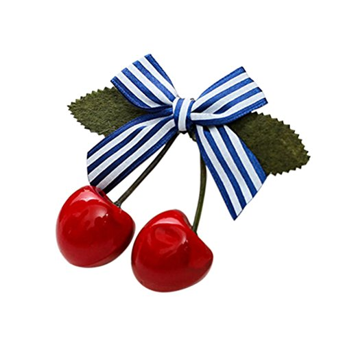 JiaUfmi Lovely Sweet Girls Retro Vintage Pink Bow Cherry Hair Clip Hairpin