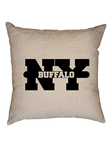 Hollywood Thread Buffalo, New York NY Classic City State Sign Decorative Linen Throw Cushion Pillow Case with Insert ()