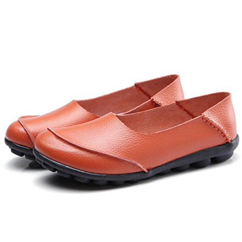 Fheaven Mujeres Flats Solid Leather Bottom Zapatos Soft Slip-on Loafer Casual Boat Zapatos Naranja
