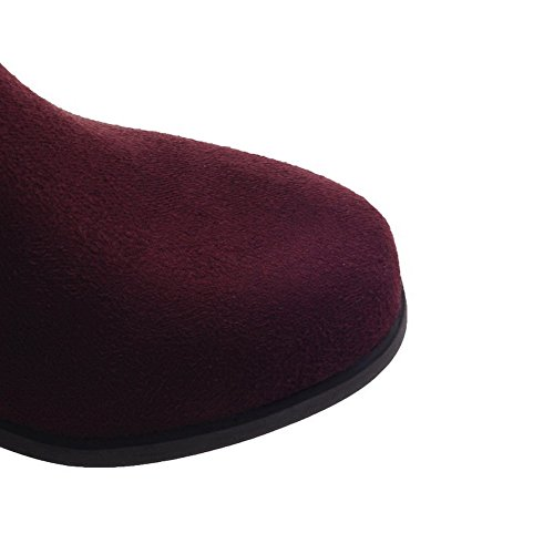 Allhqfashion Women's Pull-on Round Closed Toe Kitten-Heels Imitated Suede Low-top Boots Claret IfOodxcd