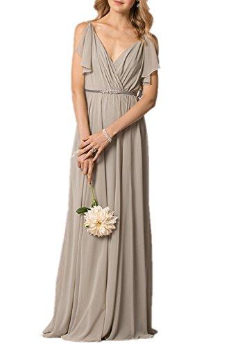 Fanciest Damen Kleid champagnerfarben A Linie qnB08z4