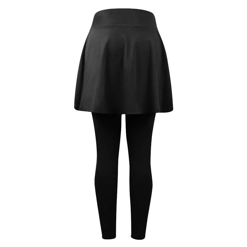 YiYlunneo Pantalons de Sport Femme Pantalon de Yoga Casual Jupes Culottes Leggings Fitness Jogging Running Taille Haute /Élastiqu/ée Pants