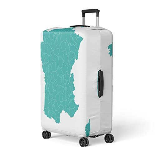 Pinbeam Luggage Cover Colorful Abstract Map France Departments Country Administrative Aquitaine Travel Suitcase Cover Protector Baggage Case Fits 26-28 inches