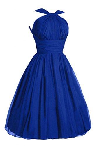 Victoria Dress Fashion A-Line Short Chiffon Pageant Bridesmaid Dresses for Girls-4-Royal Blue