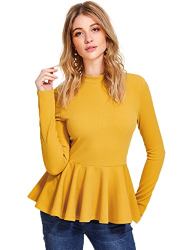 (Romwe Women's Elegant Long Sleeve Ribbed Knit Ruffle Hem Peplum Top Yellow XS)