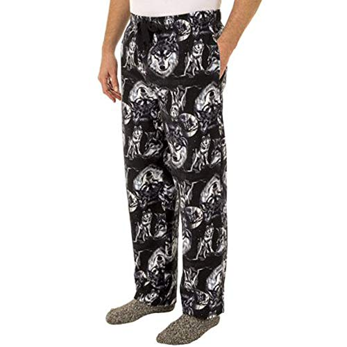 Fruit of the Loom Men's Yarn-dye Woven Flannel Pajama Pant (Small, Wolf Moon Print)