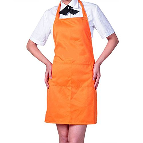 Womens Mens Solid Cooking Chef Kitchen Restaurant Bib Apron Dress with 2 Pockets (Color: Orange ) N@N