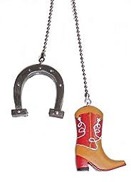 Western Cowboy assorted ceiling fan pull SET (Boot & Horseshoe Set)