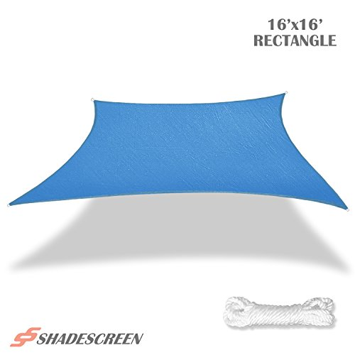 Shade Screen 16' x 16' Sun Shade Sail for Patio Backyard Deck UV Block Fabric - Square Blue