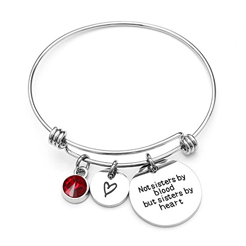 (Angel's Draw Home Best Friends Bracelets- Not Sisters By Blood But Sisters By Heart Charm Bracelet- Sister Jewelry- Friend Jewelry- Perfect Gift for Friends (07-July-Ruby))