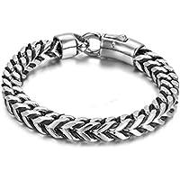 BlueFox Fashion Titanium steel Simple Leather bracelet for men(Silver Black)